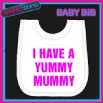 YUMMY MUMMY FUNNY SLOGAN WHITE BABY BIB EMBROIDERED NEW BORN GIFT